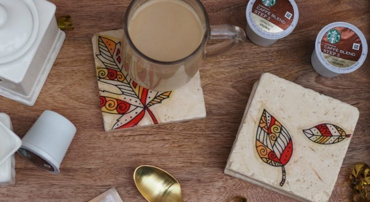 Rustic Stone Coasters Tutorial and Starbucks® Caffè Latte K-Cup® pods