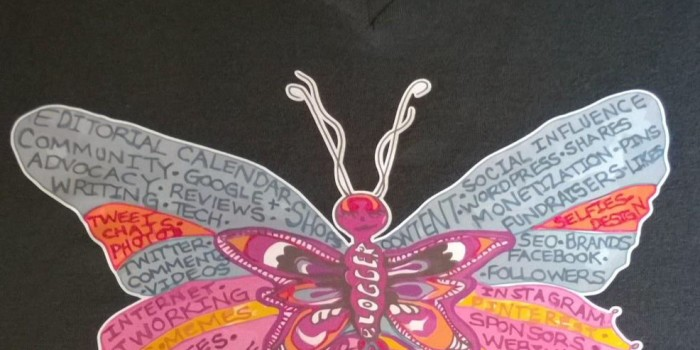 """""""Butterfly Blogger"""" T-Shirts for Suicide Prevention"""