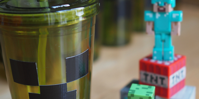 Creeper drinking cups and Minecraft toys