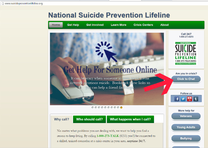 Suicide Prevention Lifeline online chat and crisis phone line