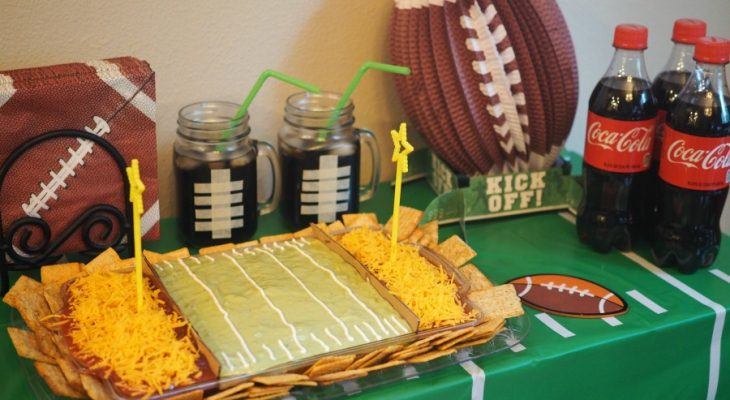 Football Party Ideas and Snacks with 6-Layer Stadium Dip