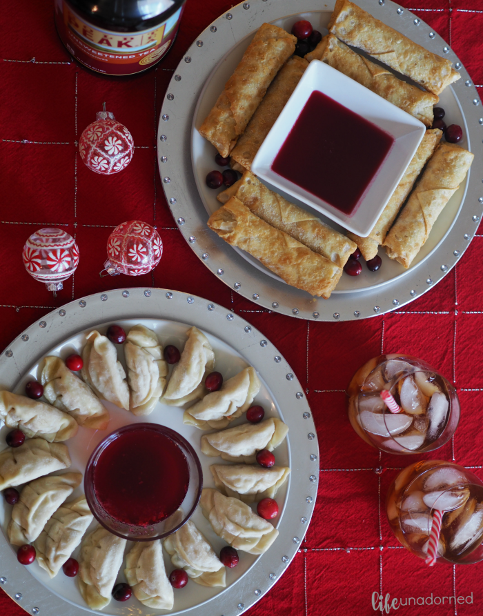 homemade tangy cranberry dipping sauce paired with Pagoda appetizers and Gold Peak Tea #ad